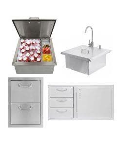 BBQ Direct Outdoor Kitchen 4-Piece Set With 39-Inch Access Door & Double Drawer Combo