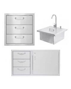 BBQ Direct Outdoor 3-Piece Kitchen Set With Access Door & Double Drawer Combo and Access Door & Double Drawer Combo and Outdoor Rated Drop-In Bar Sink