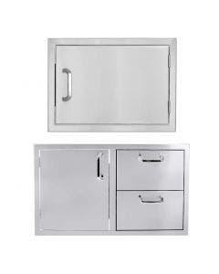 BBQ Direct Outdoor Kitchen 2-Piece Set With 32-Inch Access Door & Double Drawer Combo & 24-Inch Single Access Door