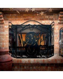 "Decorative Fireplace Screen, ""Hunting Lab,"" 3-Panel Steel Screen"