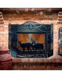 Decorative Deer 3-Panel Steel Fireplace Screen