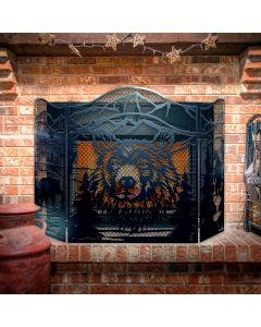 Decorative Bear Face 3-Panel Steel Fireplace Screen