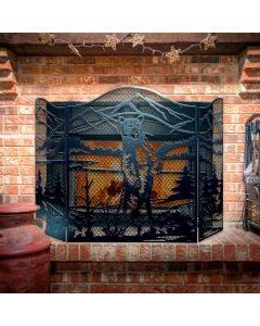 Decorative Standing Bear 3-Panel Steel Fireplace Screen