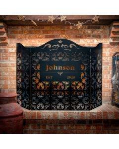 Custom Fleur De Lis 3-Panel Steel Fireplace Screen