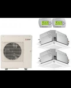 42,000 BTU 15.2 SEER Mitsubishi Quad Zone Heat Pump System 9+9+9+15 - Ceiling Cassette