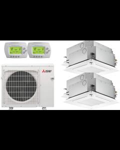 36,000 BTU 16 SEER Mitsubishi Quad Zone Heat Pump System 9+9+9+15 - Ceiling Cassette