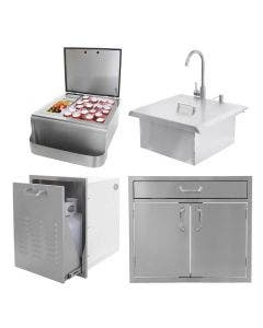 BBQ Direct Outdoor Kitchen 4-Piece Set With Roll-Out Trash/Propane Tank Drawer