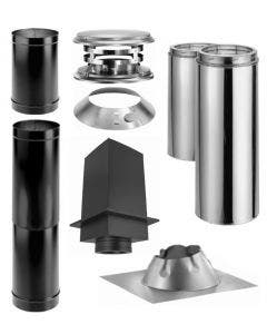 Duravent Cathedral Ceiling With Single Wall Black Pipe Wood Stove Chimney Kit