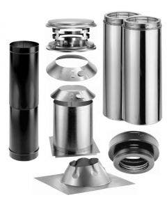 Duravent Flat Ceiling  With Single Wall Black Pipe Wood Stove Chimney Kit