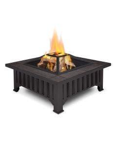 Real Flame Lafayette - Black Wood Burning Fire Pit - 908-BK Main-Blockout-Burn-HI_RES