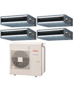 Fujitsu 45,000 BTU 17.7 SEER Quad Zone Heat Pump System 7+7+7+24 - Concealed Duct