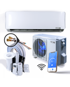 ACIQ EZ Connect 18,000 BTU 20 SEER Ductless Mini Split AC and Heat Pump with Wireless-Enabled Smart Controller