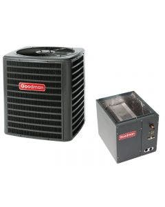 """Goodman 3 Ton 13 SEER Air Conditioner with Vertical 17.5"""" Cased Coil"""