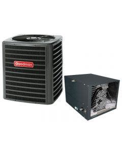 """Goodman 3 Ton 13 SEER Air Conditioner with Horizontal 17.5"""" Cased Coil"""