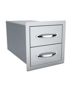 Sunstone 14-Inch Flush Double Access Drawer - B-DD12- Front-Side View