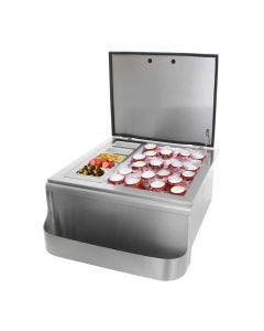 BBQ Direct Universal 18-Inch Slide-In Ice Bin Cooler With Speed Rail & Condiment Holder