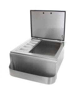 BBQ Direct Universal 25-Inch Slide-In Ice Bin Cooler With Speed Rail & Condiment Holder