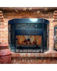 Custom Modern Flow 3-Panel Steel Fireplace Screen