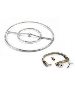 HPC 18-Inch Stainless Steel Round Burner Kit With Flex, Valve, Key, And Fittings - FPS18 KIT-B