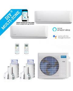 DIY 18,000 BTU Ductless Heat Pump 2 Zone Wall Mounted 9,000+9,000 with 16FT Install Kit 230-Volt/60Hz