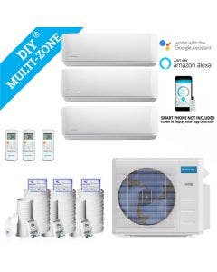 DIY 27,000 BTU Ductless Heat Pump 3 Zone Wall Mounted 9,000+9,000+9,000 with 16FT Install Kit 230-Volt/60Hz