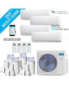 DIY 36,000 BTU Ductless Heat Pump 4 Zone Wall Mounted 9,000+9,000+9,000+9,000 with 16FT Install Kit 230-Volt/60Hz