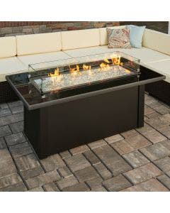 The Outdoor Greatroom Monte Carlo Linear Gas Fire Pit Table - MCR-1242-BLK-K