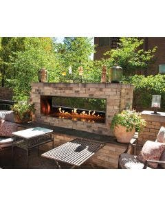 Empire Outdoor 60-Inch See Through Linear Fireplace With Fire Glass - OLL60SP12S / DG1