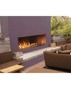 Empire Outdoor 60 Inch Linear Gas Fireplace With Fire Glass - OLL60FP12S / DG1