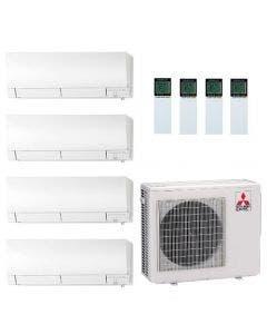 36,000 BTU 19.2 SEER Mitsubishi Quad Zone Heat Pump System 6+6+12+15