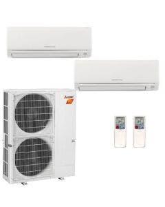 36,000 BTU 19.1 SEER Mitsubishi Dual Zone  H2i Hyper Heat Pump System 15+15