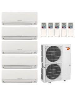 42,000 BTU 19 SEER Mitsubishi Five Zone H2i Hyper Heat Pump System 6+6+6+9+15