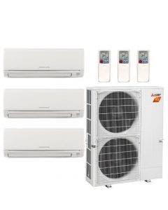 36,000 BTU 19.1 SEER Mitsubishi Tri Zone  H2i Hyper Heat Pump System 12+15+15