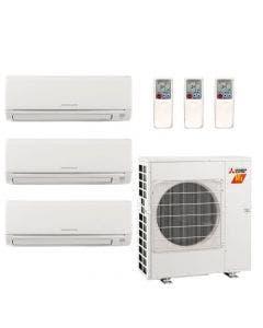 28,600 BTU 18 SEER Mitsubishi Tri Zone  H2i Hyper Heat Pump System 9+9+15