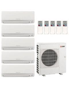 42,000 BTU 19.7 SEER Mitsubishi Five Zone Heat Pump System 6+6+6+9+15