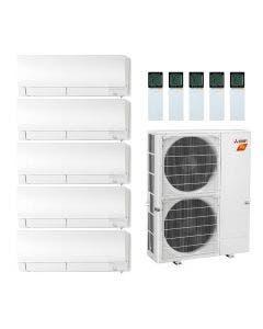 42,000 BTU 19 SEER Mitsubishi Five Zone H2i Hyper Heat Pump System 6+6+6+9+15 - Wall Mounted