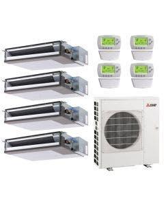 42,000 BTU 15.2 SEER Mitsubishi Quad Zone Heat Pump System 12+12+12+15 - Concealed Duct