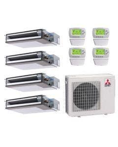 36,000 BTU 16 SEER Mitsubishi Quad Zone Heat Pump System 9+9+9+15 - Concealed Duct