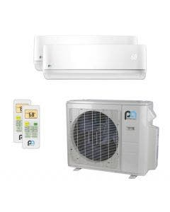 Perfect Aire 18,000 BTU 21.3 SEER Dual Zone Heat Pump System 9+12 - Wall Mounted