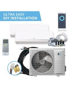 Perfect Aire DIY 30,000 BTU 22 SEER Dual Zone Heat Pump System 12+18 - Wall Mounted