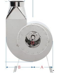 Plastec Stainless Steel Direct Drive Backward Inclined Blower Corrosive Environment .5 HP 450 CFM Single Phase