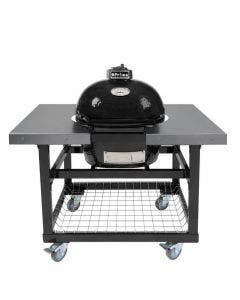 Primo Oval JR 200 Kamado with Black Cart Base And Stainless Steel Side Shelves - PRM774 / PRM370
