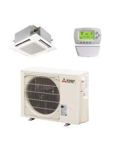 Mitsubishi 18,000 BTU 24.6 SEER Single Zone Heat Pump System - Ceiling Cassette
