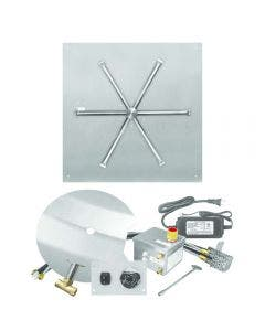 Firegear 25-Inch Square Flat Pan Fire Pit Burner Kit With Remote - FPB-25SFBSAWS-N
