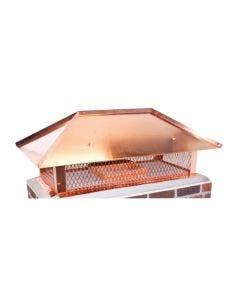 Ventis Copper Multi-Flue Chimney Cap With Hip And Ridge Lid And 14-Inch Mesh Height - MFHNRCP14