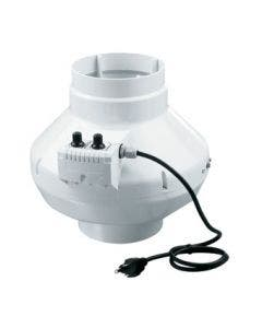 VENTS-US In-line centrifugal fan VK 150 U Series with power cord built in speed and temperature control. (Plastic case)