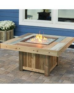 The Outdoor Greatroom Vintage Square Gas Fire Pit Table - VNG-2424BRN